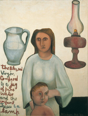 Image: The Blessed Virgin compared to a jug of pure water and the infant Jesus to a lamp.