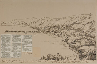 Image: Key plan to Mr G.B. Shaw's picture of Dunedin in 1851. Drawn by Mrs Hocken in 1892.