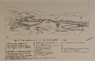 """Image: Key to """"View of Dunedin"""" by C.H. Kettle, 1849. T.M.Hocken."""