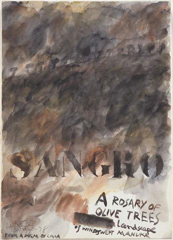 Image: Sangro, a rosary of olive trees, landscape of windswept manuka.