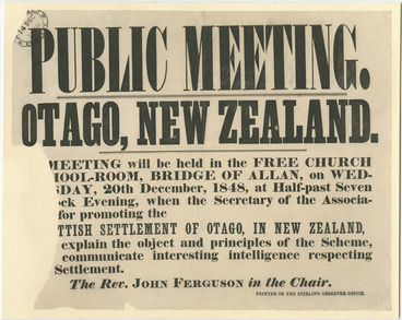 Image: Public meeting. Otago, New Zealand poster