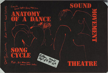 Image: Anatomy of a dance. Song cycle, sound, movement, theatre. Design for programme & poster.