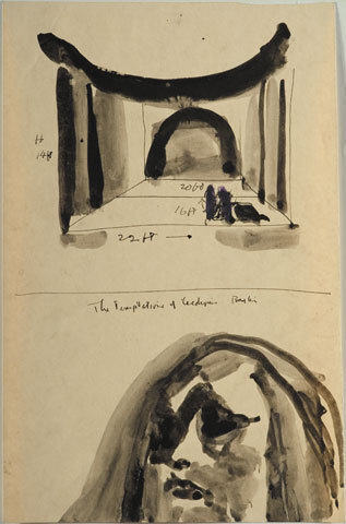 Image: The temptations of Œdipus by Baxter [set design. Stage design and face].