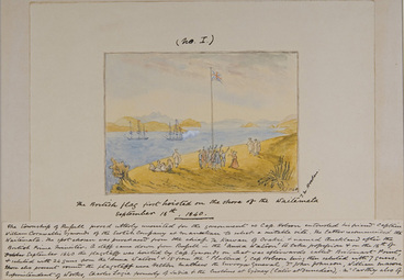 Image: The British flag first hoisted on the shore of the Waitemata, September 18th, 1840.