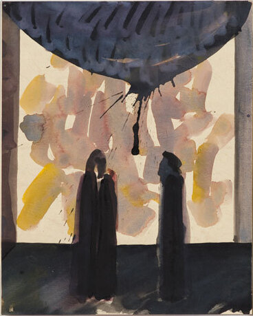 Image: The temptations of Œdipus by Baxter [set design. Two figures & gold light].
