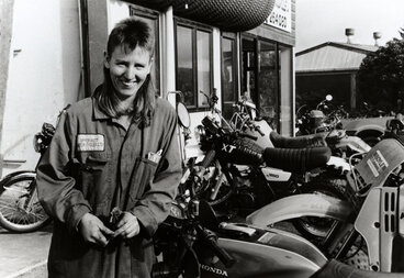 Image: Upper Hutt Motorcycles; Rose Durrant; first apprentice motorcycle mechanic, Wellington region.