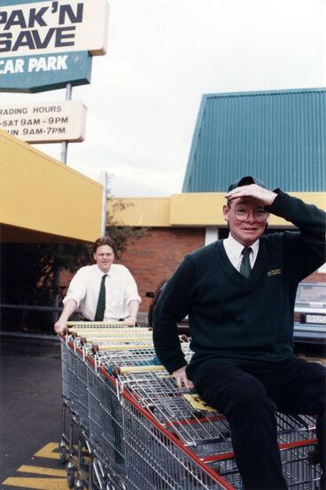 Image: Pak'n Save; missing-trolleys amnesty; attendant Bob Goodall, director Michael Kelly.