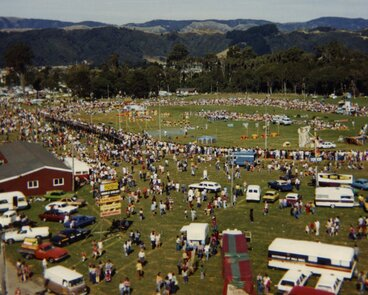 Image: A & P show; aerial view of Trentham Memorial Park whilst show in progress.