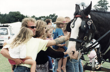 Image: Summer carnival 2000; carnival-goers and one of two Clydesdale horses offering rides.