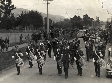 Image: Military Service, World War II; band; in Main Road South, near Trentham?