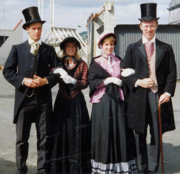 Image: 1990 celebrations; re-enactment of early settlers' arrival; Brown family group
