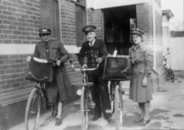 Image: Post Office; first postwomen in Upper Hutt, at the back door of the Post Office.