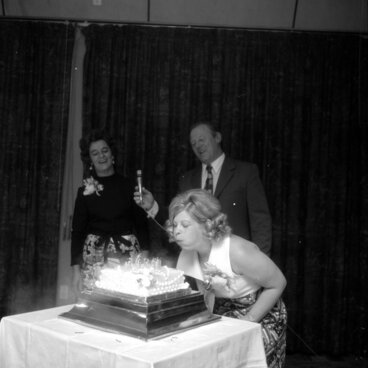 Image: Hodson 21st; birthday girl and parents. [P1-7111-9501]