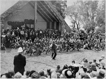 Image: C Company perform Ruaumoko with Sir Apirana Ngata