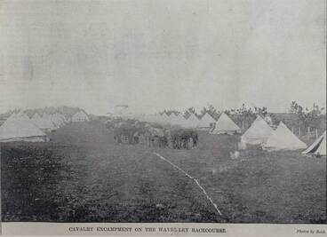 Image: Cavalry encampment on the Waverley Racecourse