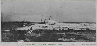 Image: Searching the beach for wreckage from the Taupo