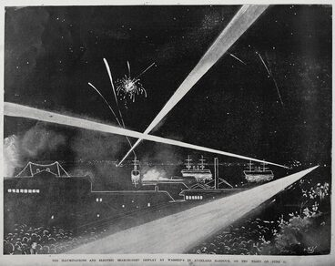 Image: The illuminations and electric searchlight display by warships in Auckland Harbour, on the night of June 11.