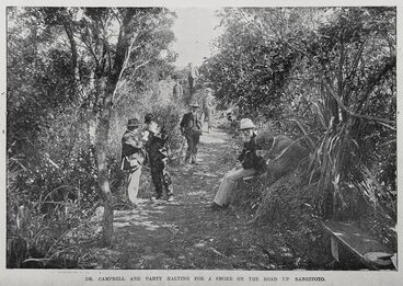 Image: Dr Campbell and party halting for a smoke on the road up Rangitoto.