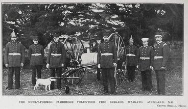 Image: THE NEWLY-FORMED CAMBRIDGE VOLUNTEER FIRE BRIGADE, WAIKATO, AUCKLAND, N.Z.