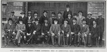 Image: NEW ZEALAND FARMERS' UNION'S SUMMER CONFERENCE, HELD AT AGRICULTURAL HALL, CHRISTCHURCH, NOVEMBER 9, 1904.