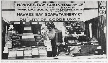 Image: MANAWATU AND WEST COAST A. AND P. SOCIETY'S SHOW: THE HAWKE'S BAY SOAP AND TANNERY COMPANY'S EXHIBIT. NOVEMBER 1-3 1905.