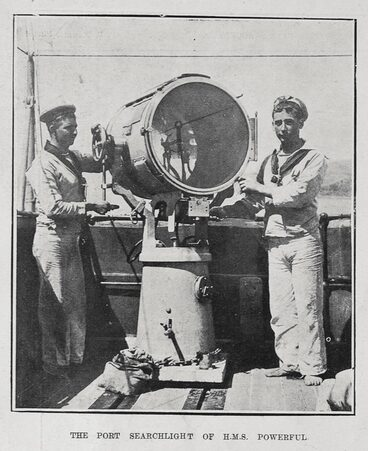 Image: THE PORT SEARCHLIGHT OF H. M. S. POWERFUL.