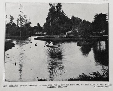 Image: NEW ZEALAND'S PUBLIC GARDENS: A COOL SPOT FOR A HOT SUMMER'S DAY, ON THE LAKE IN THE NGAIRE GARDENS, TARANAKI.