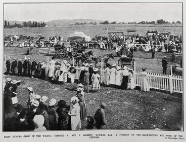 Image: FIRST ANNUAL SHOW OF THE WAIROA DISTRICT A. AND P. SOCIETY, HAWKE'S BAY: A PORTION OF THE SHOWGROUND AND SOME OF THE VISITORS.