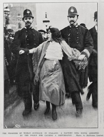 Image: THE PROGRESS OF WOMAN SUFFRAGE IN ENGLAND: A FACTORY GIRL BEING ARRESTED BY THE POLICE FOR CAUSING A DISTURBANCE.
