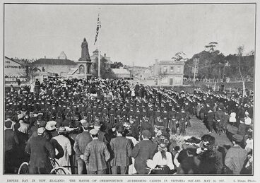 Image: EMPIRE DAY IN NEW ZEALAND: THE MAYOR OF CHRISTCHURCH ADDRESSING CADETS IN VICTORIA SQUARE, MAY 24, 1907.