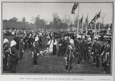 Image: BISHOP JULIUS CONSECRATING THE COLOURS IN HAGLEY PARK, CHRISTCHURCH.
