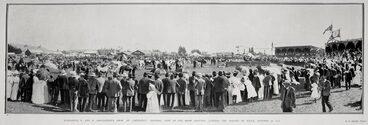 Image: WAIRARAPA A. AND P. ASSOCIATION'S SHOW AT CARTERTON: GENERAL VIEW OF THE SHOW GROUNDS, SHOWING THE PARADE OF STOCK, OCTOBER 29, 1908.