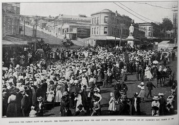 Image: HONOURING THE PATRON SAINT OF IRELAND: THE PROCESSION OF CHILDREN FROM THE GREY STATUE, QUEEN STREET, AUCKLAND, ON ST. PATRICK'S DAY, MARCH 17, 1909