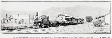 Image: ON THE GISBORNE-ROTORUA RAILWAY ROUTE: THE ARRIVAL OF A TRAIN FROM GISBORNE AT TE KARAKA STATION, POVERTY BAY.