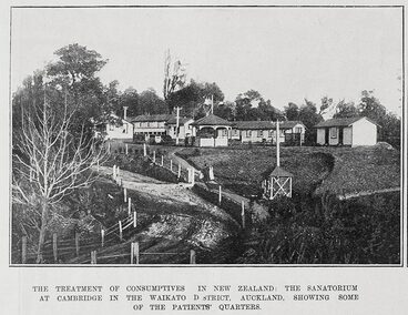 Image: THE TREA\TMENT OF CONSUMPTIVES IN NEW ZEALAND: THE SANATORIUM AT CAMBRIDGE IN THE WAIKATO DSTRICT, AUCKLAND, SHOWING SOME OF THE PATIENTS' QUARTERS.