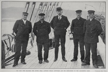 Image: THE MEN WHO REACHED THE SOUTH POLE: CAPTAIN ROALD AMUNDSEN AND HIS COMPANIONS IN THE SUCCESSFUL DASH.