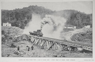 Image: Leaving for tidal water with a load of Kauri Logs: A bush train at Puketi, North Auckland.