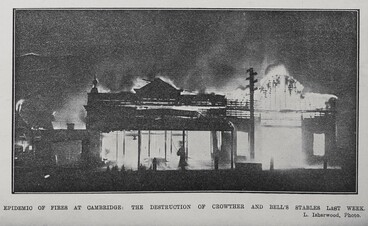 Image: Epidemio of fires at Cambridge: The destruction of Crowther and Bell's stables last week.