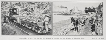 Image: From quarry to mill: The new and old methods of trucking the raw material on Limestone Island.