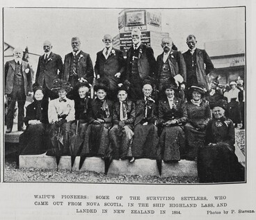 Image: Waipu's pioneers: some of the surviving settlers, who came out from Nova Scotia, in the shop Highland Lass, and landed in New Zealand in 1854.