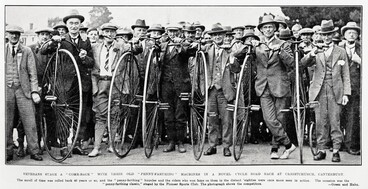 "Image: VETERANS STAGE A "" COME-BACK "" WITH THEIR OLD ""PENNY-FARTHING "" MACHINES IN A NOVEL CYCLE ROAD AT CHRISTCHURCH, CANTERBURY"