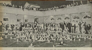 Image: EVENING RENDEZVOUS AT ROTORUA: POPULARITY OF THE BLUE BATHS WITH VISITORS TO THE THERMAL CENTRE