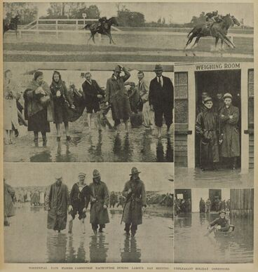 Image: TORRENTIAL RAIN FLOODS CAMBRIDGE RACECOURSE DURING LABOUR DAY MEETING: UNPLEASANT HOLIDAY CONDITIONS