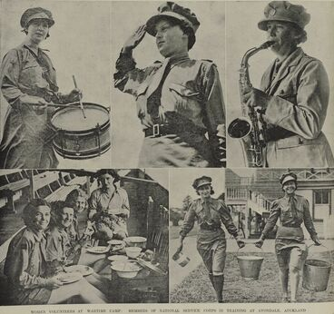 Image: WOMEN VOLUNTEERS AT WARTIME CAMP: MEMBERS OF NATIONAL SERVICE CORPS IN TRAINING AT AVONDALE, AUCKLAND