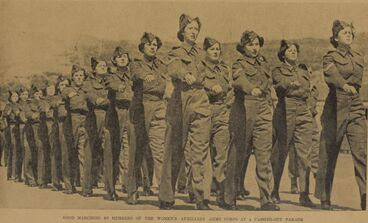Image: GOOD MARCHING BY MEMBERS OF THE WOMEN'S AUXILIARY ARMY CORPS AT A PASSING-OUT PARADE