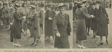 Image: VOLUNTEER WOMEN WAR WORKERS ARE GUESTS OF THEIR EXCELLENCIES AT A GARDEN PARTY AT GOVERNMENT HOUSE, WELLINGTON