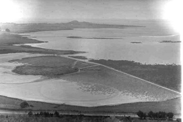 Image: Looking south west from Mangere Mountain up the Manukau Harbour....