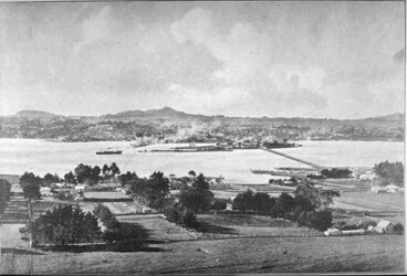 Image: Looking north from Mangere Mountain over Mangere and the....