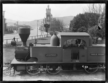 Image: Single Fairlie Class E Number 175 on display near Dunedin Railway station