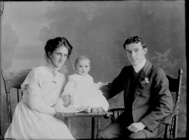 Image: 3/4 length portrait of the Dillon family, the man and woman....